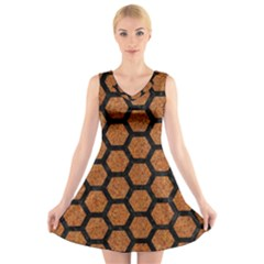 Hexagon2 Black Marble & Rusted Metal V Neck Sleeveless Skater Dress