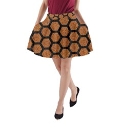 Hexagon2 Black Marble & Rusted Metal A Line Pocket Skirt