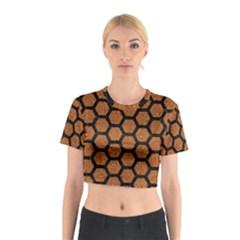 Hexagon2 Black Marble & Rusted Metal Cotton Crop Top by trendistuff