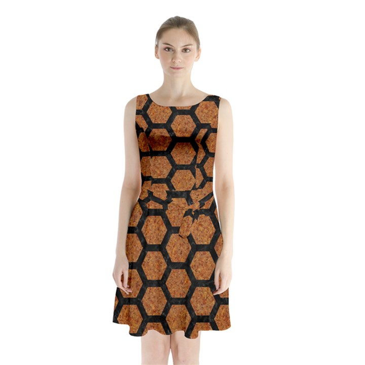 HEXAGON2 BLACK MARBLE & RUSTED METAL Sleeveless Waist Tie Chiffon Dress