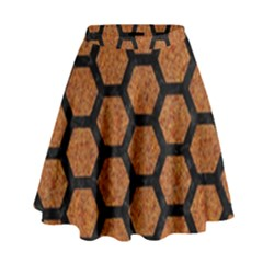 Hexagon2 Black Marble & Rusted Metal High Waist Skirt by trendistuff