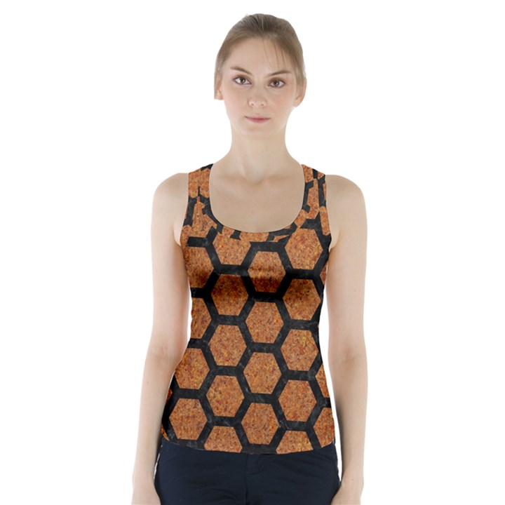 HEXAGON2 BLACK MARBLE & RUSTED METAL Racer Back Sports Top