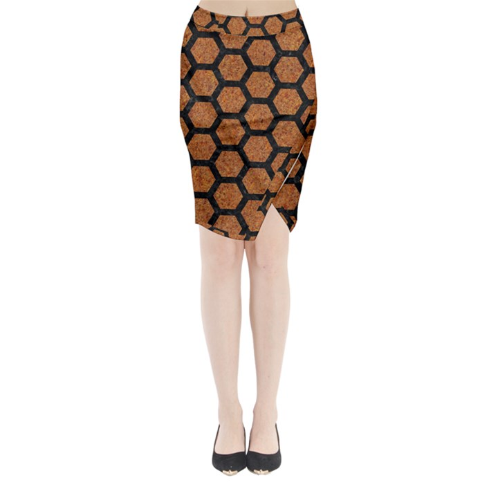 HEXAGON2 BLACK MARBLE & RUSTED METAL Midi Wrap Pencil Skirt