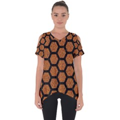 HEXAGON2 BLACK MARBLE & RUSTED METAL Cut Out Side Drop Tee
