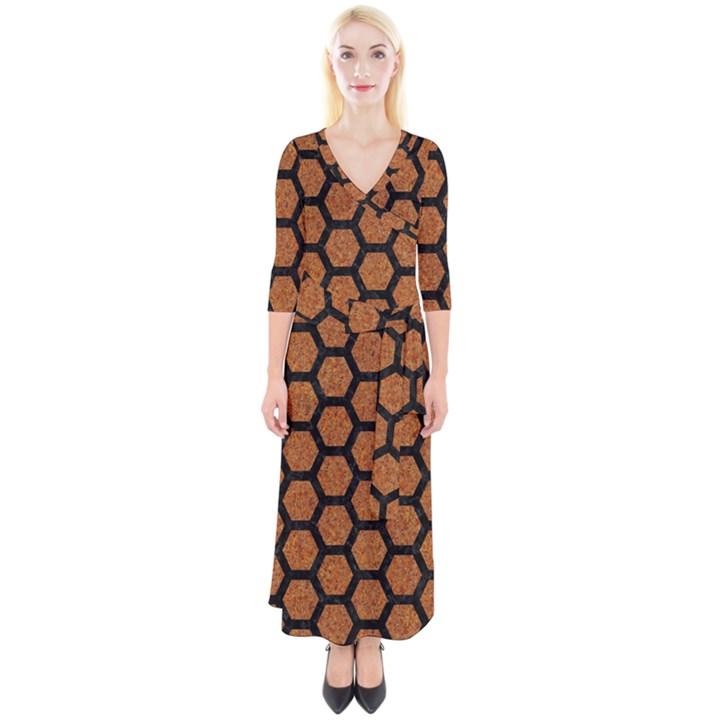 HEXAGON2 BLACK MARBLE & RUSTED METAL Quarter Sleeve Wrap Maxi Dress