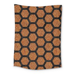 Hexagon2 Black Marble & Rusted Metal Medium Tapestry