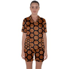 HEXAGON2 BLACK MARBLE & RUSTED METAL Satin Short Sleeve Pyjamas Set