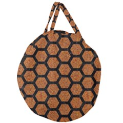 Hexagon2 Black Marble & Rusted Metal Giant Round Zipper Tote by trendistuff