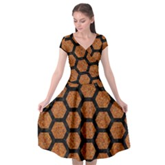 HEXAGON2 BLACK MARBLE & RUSTED METAL Cap Sleeve Wrap Front Dress