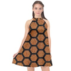 Hexagon2 Black Marble & Rusted Metal Halter Neckline Chiffon Dress  by trendistuff