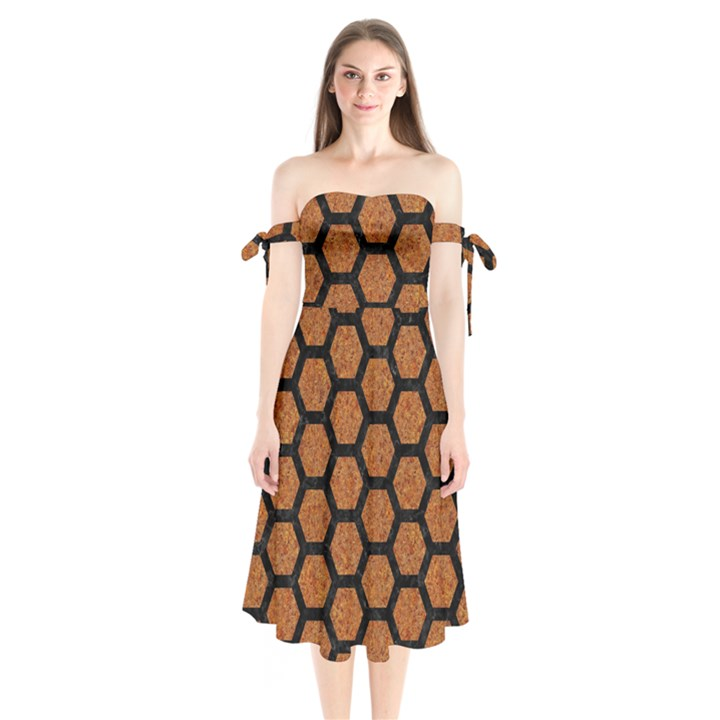 HEXAGON2 BLACK MARBLE & RUSTED METAL Shoulder Tie Bardot Midi Dress