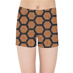 HEXAGON2 BLACK MARBLE & RUSTED METAL Kids Sports Shorts