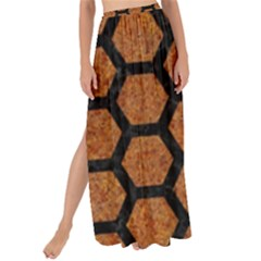 Hexagon2 Black Marble & Rusted Metal Maxi Chiffon Tie Up Sarong