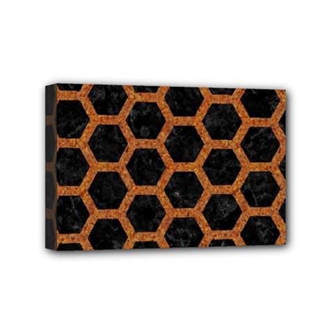 Hexagon2 Black Marble & Rusted Metal (r) Mini Canvas 6  X 4