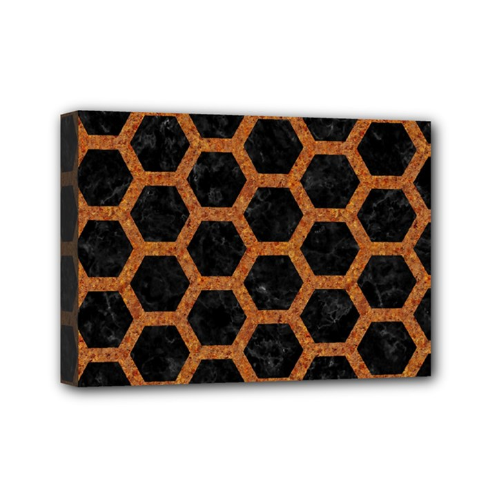 HEXAGON2 BLACK MARBLE & RUSTED METAL (R) Mini Canvas 7  x 5