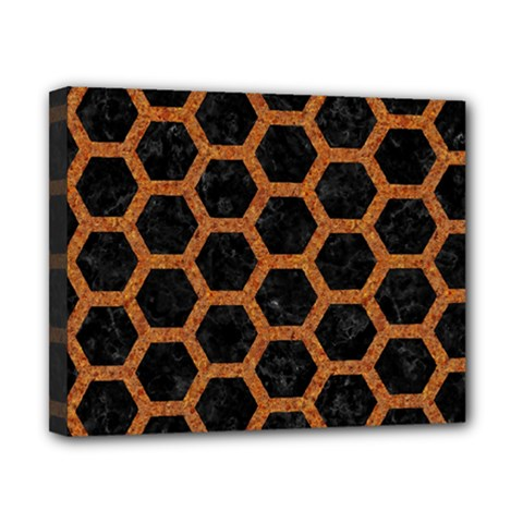 Hexagon2 Black Marble & Rusted Metal (r) Canvas 10  X 8  by trendistuff