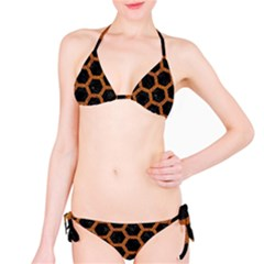 Hexagon2 Black Marble & Rusted Metal (r) Bikini Set