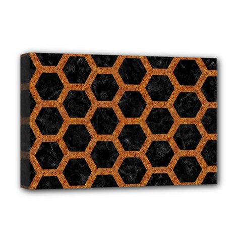 Hexagon2 Black Marble & Rusted Metal (r) Deluxe Canvas 18  X 12