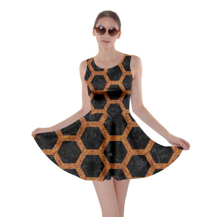 HEXAGON2 BLACK MARBLE & RUSTED METAL (R) Skater Dress