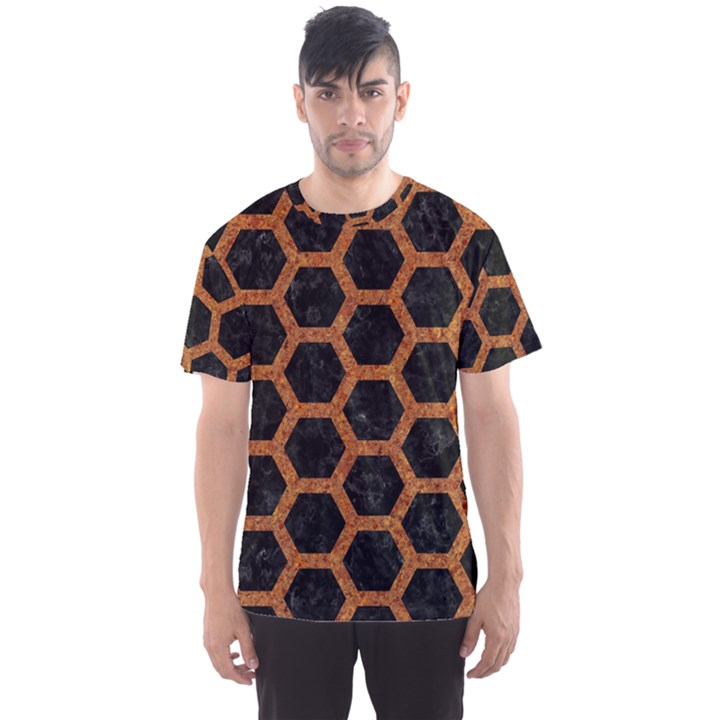 HEXAGON2 BLACK MARBLE & RUSTED METAL (R) Men s Sports Mesh Tee