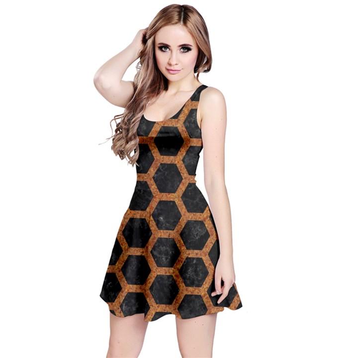 HEXAGON2 BLACK MARBLE & RUSTED METAL (R) Reversible Sleeveless Dress