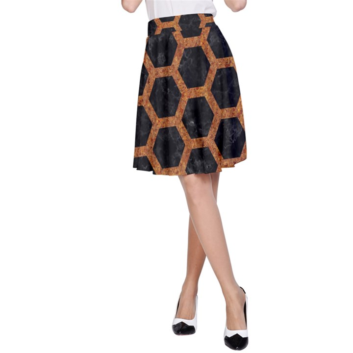 HEXAGON2 BLACK MARBLE & RUSTED METAL (R) A-Line Skirt