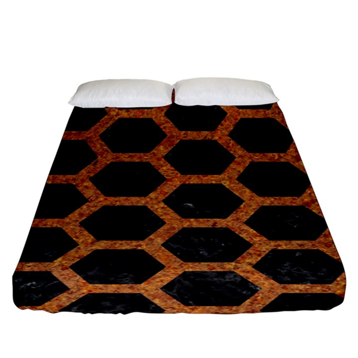 HEXAGON2 BLACK MARBLE & RUSTED METAL (R) Fitted Sheet (King Size)