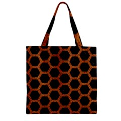 Hexagon2 Black Marble & Rusted Metal (r) Zipper Grocery Tote Bag by trendistuff
