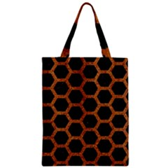 Hexagon2 Black Marble & Rusted Metal (r) Zipper Classic Tote Bag by trendistuff