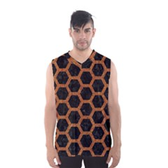 Hexagon2 Black Marble & Rusted Metal (r) Men s Basketball Tank Top
