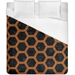 Hexagon2 Black Marble & Rusted Metal (r) Duvet Cover (california King Size)