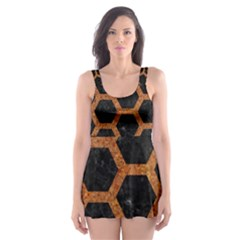 Hexagon2 Black Marble & Rusted Metal (r) Skater Dress Swimsuit