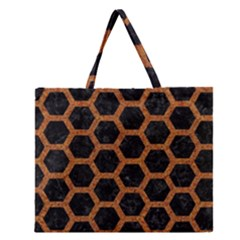 Hexagon2 Black Marble & Rusted Metal (r) Zipper Large Tote Bag by trendistuff
