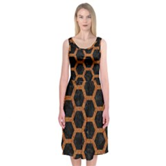 Hexagon2 Black Marble & Rusted Metal (r) Midi Sleeveless Dress