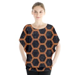 Hexagon2 Black Marble & Rusted Metal (r) Blouse