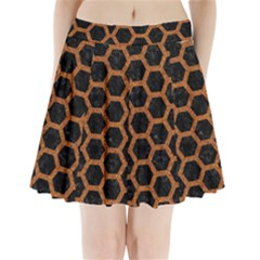 Hexagon2 Black Marble & Rusted Metal (r) Pleated Mini Skirt