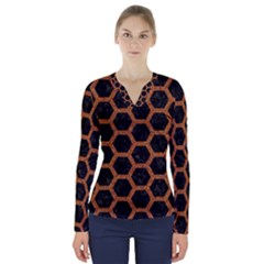 Hexagon2 Black Marble & Rusted Metal (r) V Neck Long Sleeve Top