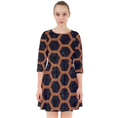 Hexagon2 Black Marble & Rusted Metal (r) Smock Dress