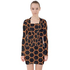 Hexagon2 Black Marble & Rusted Metal (r) V Neck Bodycon Long Sleeve Dress