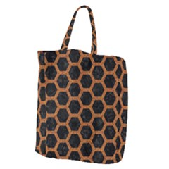 Hexagon2 Black Marble & Rusted Metal (r) Giant Grocery Zipper Tote by trendistuff