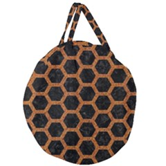Hexagon2 Black Marble & Rusted Metal (r) Giant Round Zipper Tote by trendistuff