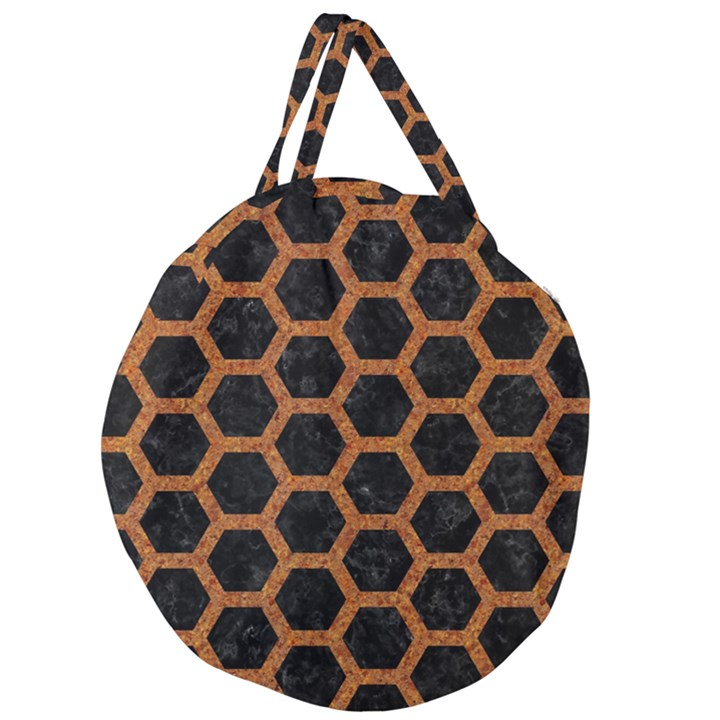 HEXAGON2 BLACK MARBLE & RUSTED METAL (R) Giant Round Zipper Tote