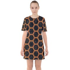 Hexagon2 Black Marble & Rusted Metal (r) Sixties Short Sleeve Mini Dress