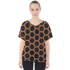 Hexagon2 Black Marble & Rusted Metal (r) V Neck Dolman Drape Top