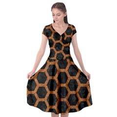 Hexagon2 Black Marble & Rusted Metal (r) Cap Sleeve Wrap Front Dress