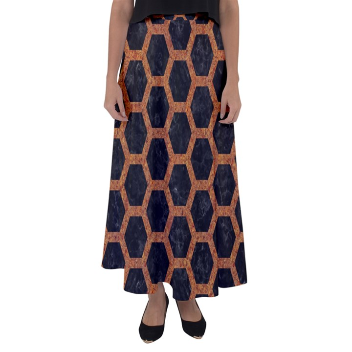 HEXAGON2 BLACK MARBLE & RUSTED METAL (R) Flared Maxi Skirt