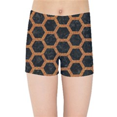Hexagon2 Black Marble & Rusted Metal (r) Kids Sports Shorts