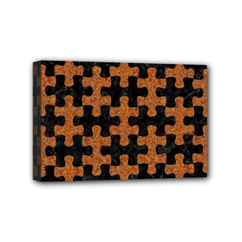 Puzzle1 Black Marble & Rusted Metal Mini Canvas 6  X 4