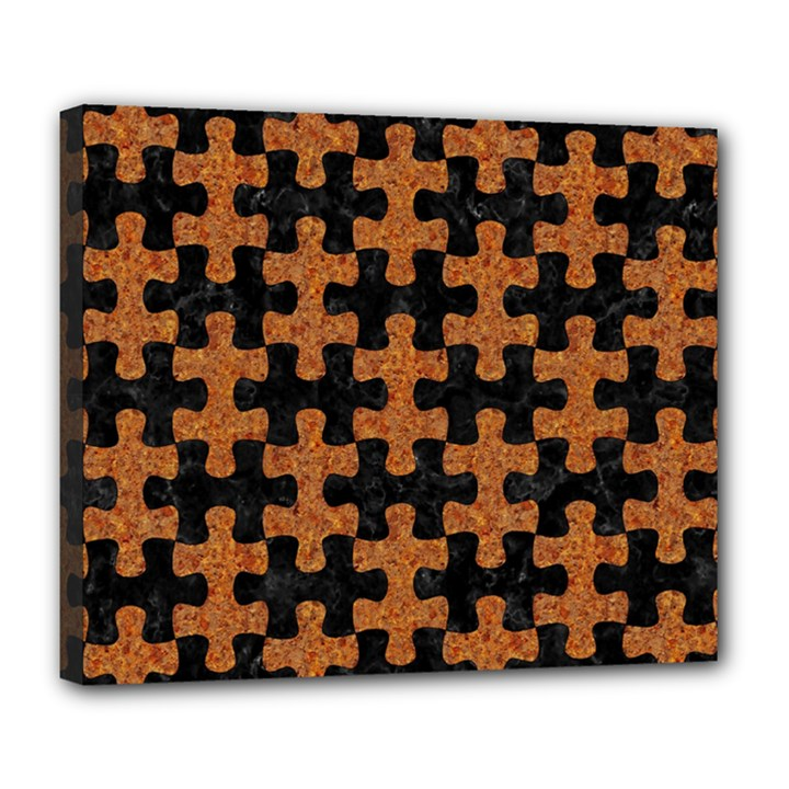 PUZZLE1 BLACK MARBLE & RUSTED METAL Deluxe Canvas 24  x 20