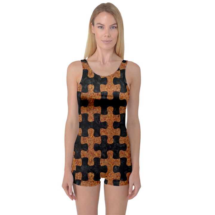 PUZZLE1 BLACK MARBLE & RUSTED METAL One Piece Boyleg Swimsuit